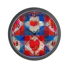 Red Heart Patchwork Quilt Wall Clock