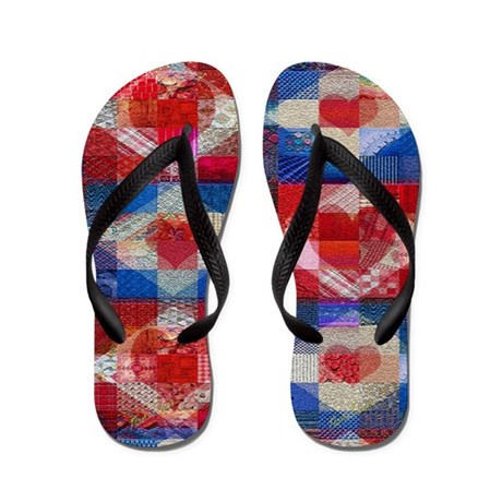 Red Heart Patchwork Quilt Flip Flops
