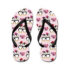 Penguin Love You Valentine Couple Flip Flops
