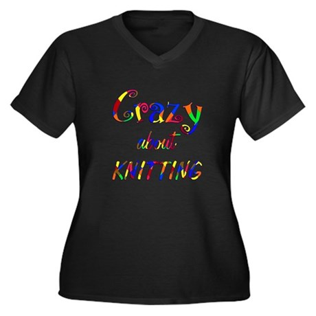 Crazy About Knitting Women's Plus Size V-Neck Dark