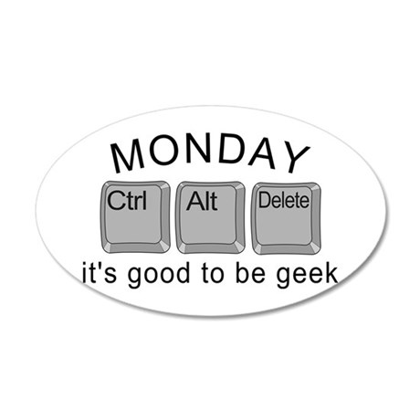 Monday Geek Computer Keys 35x21 Oval Wall Decal