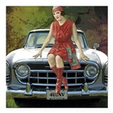 "Vintage Pin Up Square Car Magnet 3"" x 3"""