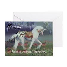 Friend Birthday Card with Unicorn, Fantasy Birthda