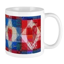 Red Heart Patchwork Quilt Mug