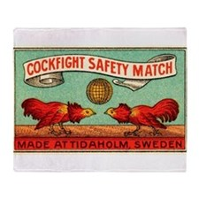 Antique Swedish Cockfight Matchbox Label Stadium