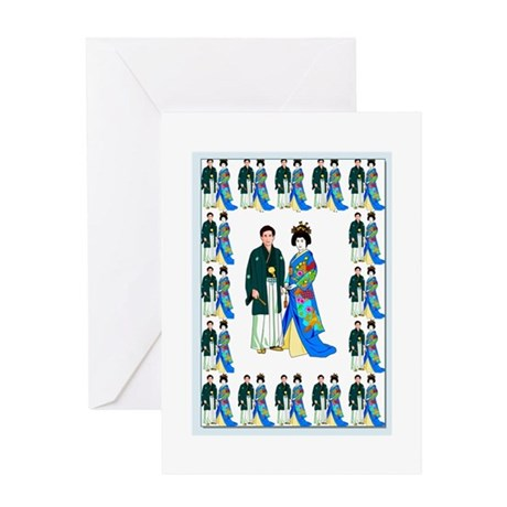 Japanese wedding couple Greeting Card