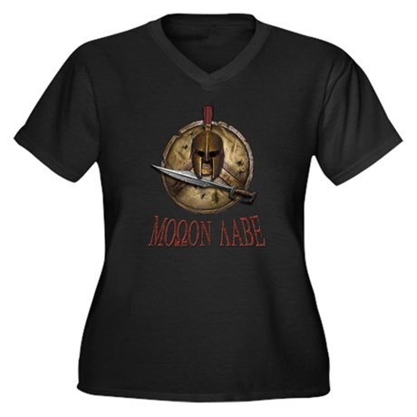 Molon Labe Spartan w Sword Women's Plus Size V-Nec