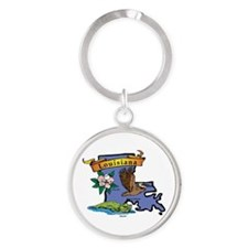 Louisiana Map Round Keychain