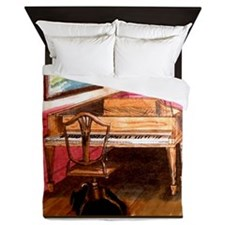 Federal Style Piano and chair Queen Duvet