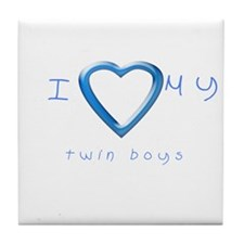 I love my twin boys Tile Coaster
