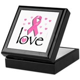 Breast Cancer Pink Ribbon Keepsake Box