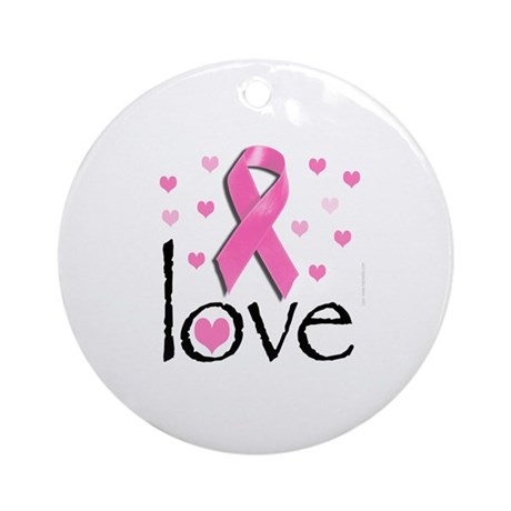 Breast Cancer Pink Ribbon Ornament (Round)