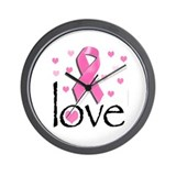 Breast Cancer Pink Ribbon Wall Clock