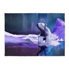 Contemplative Polar Bear 5'x7'Area Rug