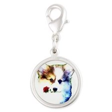 Pembroke Welsh Corgi Puppy with Valentine Rose Sil