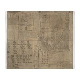 Aztec map, 16th century - Throw Blanket