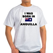 I Was Born In Anguilla Ash Grey T-Shirt