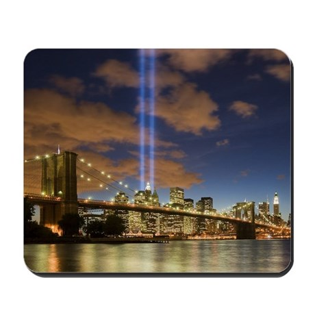 WTC Lights Brooklyn Bridge Mousepad