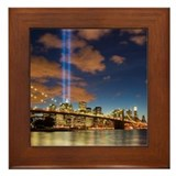 WTC Lights Brooklyn Bridge Framed Tile