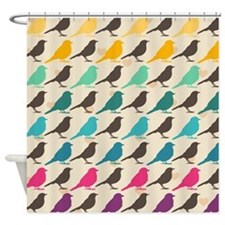 Retro Birds Shower Curtain