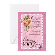 100 years old greeting card - roses and (Pk of 10)