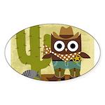 cowboy owl Sticker (Oval 10 pk)