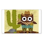 cowboy owl Sticker (Rectangle)