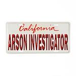 California Arson Investigator Aluminum License Pla