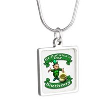 St. Patrick Birthday Leprechaun Silver Square Neck
