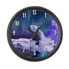 Contemplative Polar Bear Large Wall Clock