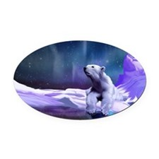 Contemplative Polar Bear Oval Car Magnet