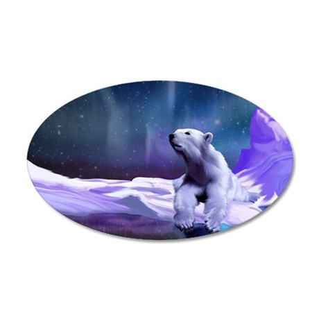 Contemplative Polar Bear 20x12 Oval Wall Decal