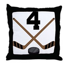 Hockey Player Number 4 Throw Pillow