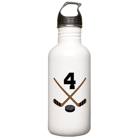 Hockey Player Number 4 Stainless Water Bottle 1.0L