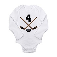 Hockey Player Number 4 Long Sleeve Infant Bodysuit