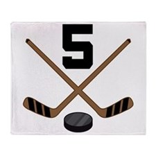 Hockey Player Number 5 Throw Blanket