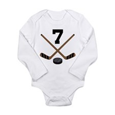 Hockey Player Number 7 Long Sleeve Infant Bodysuit