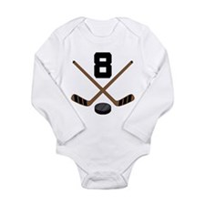 Hockey Player Number 8 Long Sleeve Infant Bodysuit