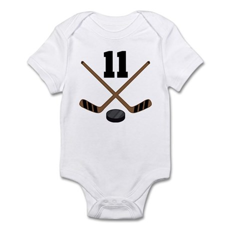 Hockey Player Number 11 Infant Bodysuit