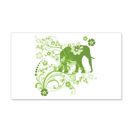 Elephant Swirls Green 20x12 Wall Decal