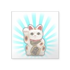 "Lucky Cat (Maneki-neko) Square Sticker 3"" x 3"""