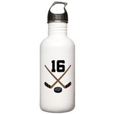 Hockey Player Number 16 Water Bottle