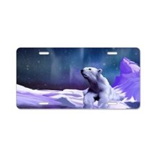 Contemplative Polar Bear Aluminum License Plate