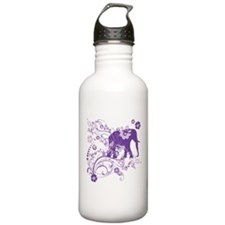 Elephant Swirls Purple Water Bottle