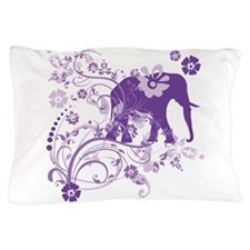 Elephant Swirls Purple Pillow Case