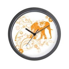 Elephant Swirls Orange Wall Clock