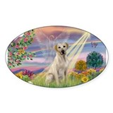 Cloud Angel & Yellow Lab Rectangle Decal
