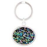 Lherzolite rock, light micrograph - Oval Keychain