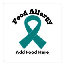 """Personalized Food Allergy Square Car Magnet 3"""" x 3"""
