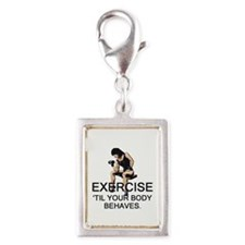 TOP Exercise Slogan Silver Portrait Charm